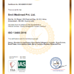 ISO 13485:2016 certificate of Smit Medimed Pvt Ltd I Orthopedic Implant Manufacturer