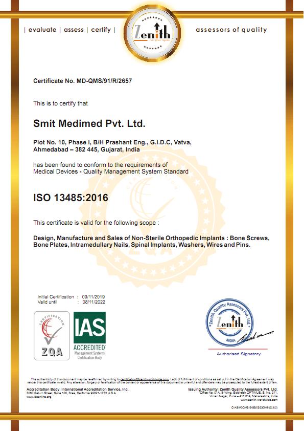 ISO 13485:2016 certificate of Smit Medimed Pvt Ltd I Orthopedic Implant Manufacturer